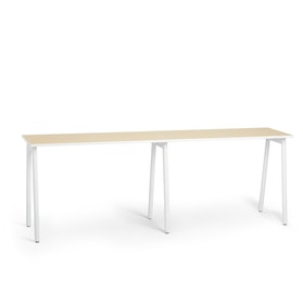 "Series A Standing Single Desk for 2, Light Oak, 57"", White Legs"