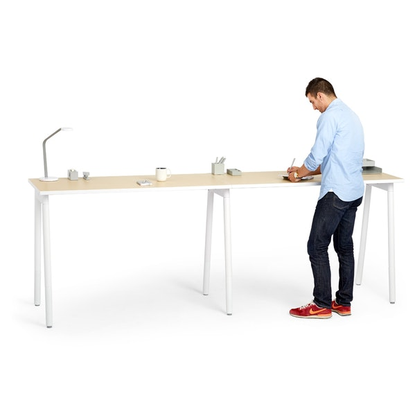 """Series A Standing Single Desk for 2, Light Oak, 57"""", White Legs,Light Oak,hi-res"""