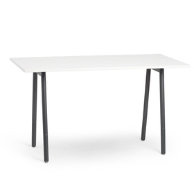 "Series A Standing Table, White, 72x36"", Charcoal Legs"