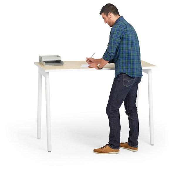 """Series A Standing Single Desk for 1, Light Oak, 57"""", White Legs,Light Oak,hi-res"""
