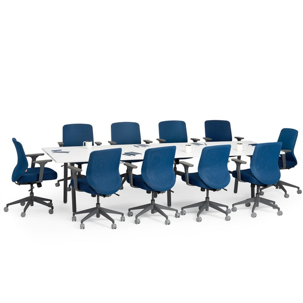 """Series A Conference Table, White, 124x42"""", Charcoal Legs,White,hi-res"""