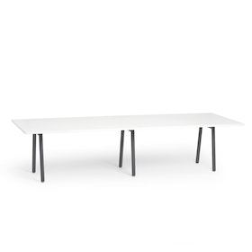 "Series A Conference Table, White, 124x42"", Charcoal Legs"
