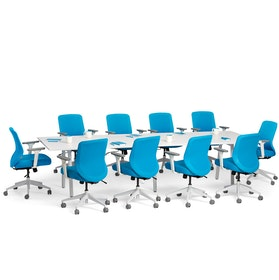 "Series A Conference Table, White, 124x42"", White Legs"