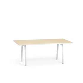 "Series A Executive Desk, Light Oak, 72"" x 36"", White Legs,Light Oak,hi-res"