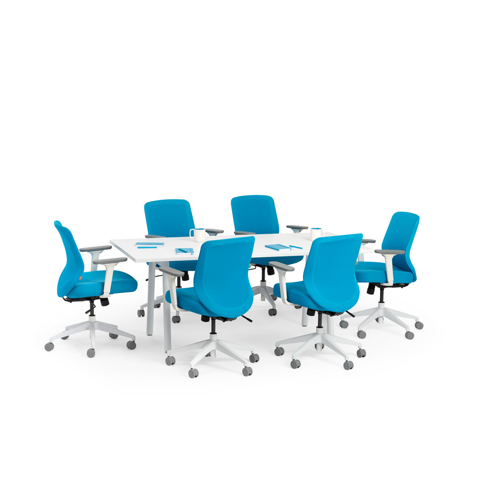Series A Conference Table White 72 x 36 White Legs Modern