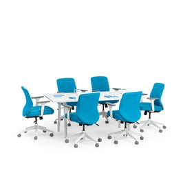 "Series A Conference Table, White, 72x36"", White Legs"
