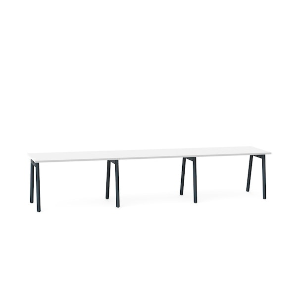 """Series A Single Desk for 3, White, 47"""", Charcoal Legs,White,hi-res"""