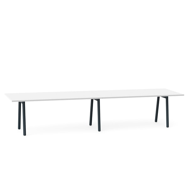 """Series A Conference Table, White, 144x36"""", Charcoal Legs,White,hi-res"""