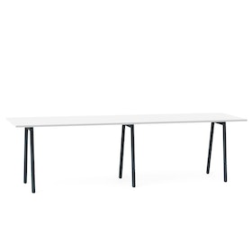 "Series A Standing Table, White, 144x36"", Charcoal Legs"