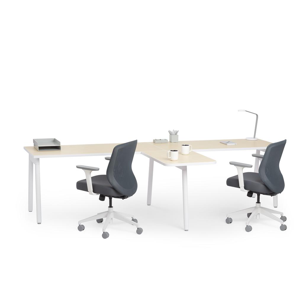 Series A Single Desk For 2 With 1 Return Light Oak 57