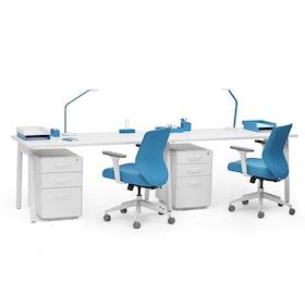 Series A Single Desk For 2, White Legs
