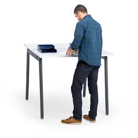 "Series A Standing Double Desk for 2, White, 47"", Charcoal Legs,White,hi-res"