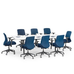 "Series A Conference Table, White, 96x42"", Charcoal Legs"