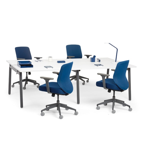 """Series A Double Desk for 4, White, 47"""", Charcoal Legs,White,hi-res"""