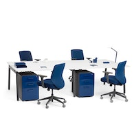 Series A Double Desk for 4, Charcoal Legs,,hi-res