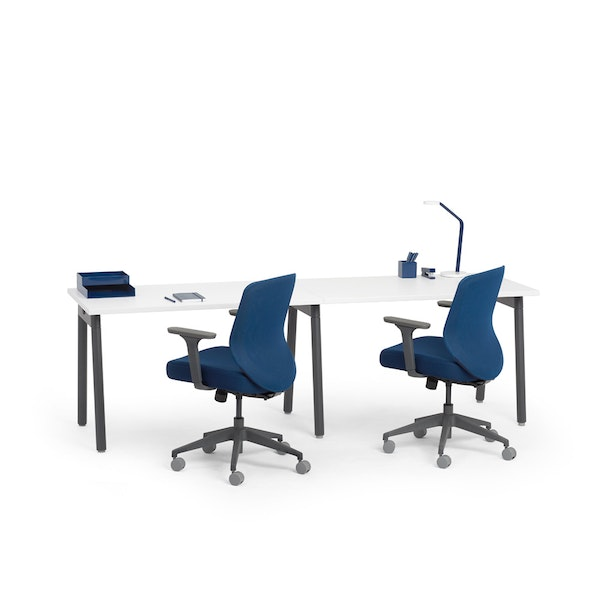 """Series A Single Desk for 2, White, 47"""", Charcoal Legs,White,hi-res"""