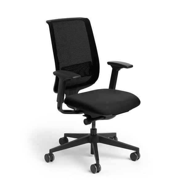 Black Reply Task Chair, Adjustable Arms, Adjustable Lumbar,Black,hi-res