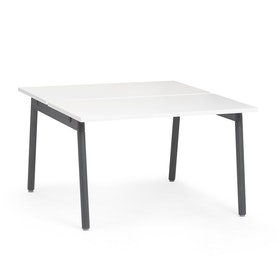 "Series A Double Desk for 2, White, 47"", Charcoal Legs,White,hi-res"