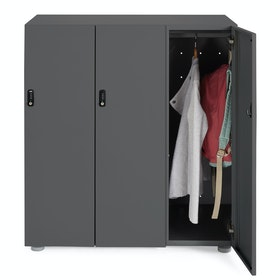 Charcoal Stash 3-Door Coat Locker