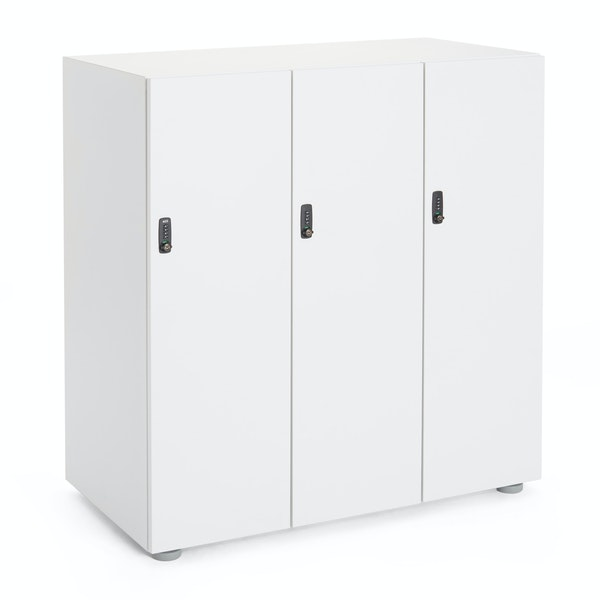 White Stash 3-Door Coat Locker,White,hi-res