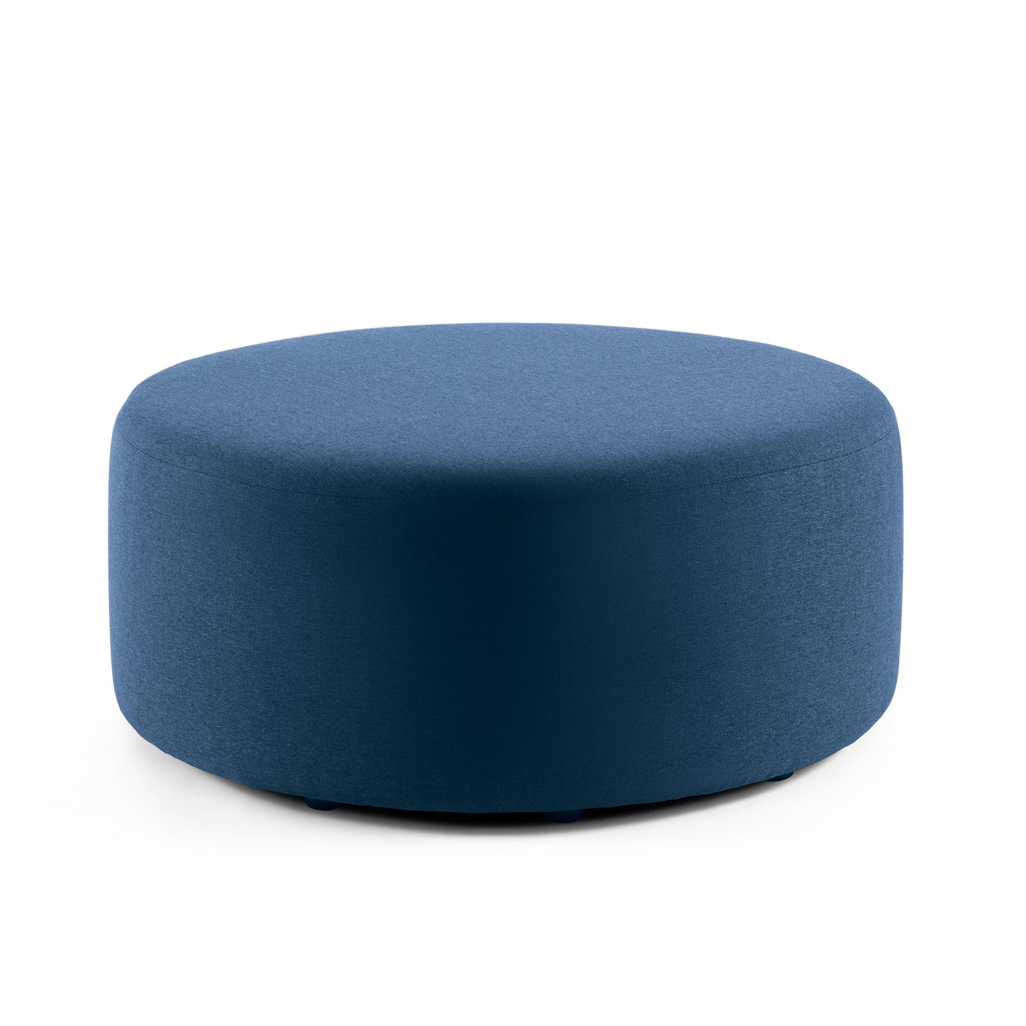 Dark Blue Block Party Lounge Round Ottoman 40 Office Furniture
