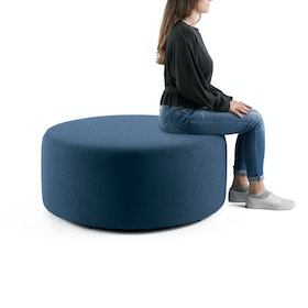 Dark Blue Block Party Lounge Round Ottoman, 40""