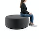 "Dark Gray Block Party Lounge Round Ottoman, 40"",Dark Gray,hi-res"