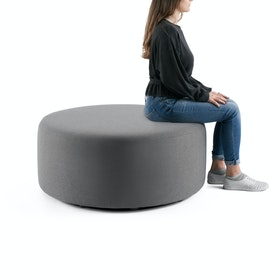 "Gray Block Party Lounge Round Ottoman, 40"",Gray,hi-res"