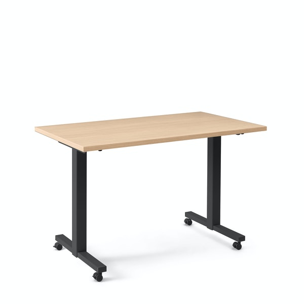 "Irons Flip Top Training Table, Natural Oak, 47"", Charcoal Legs,Natural Oak,hi-res"