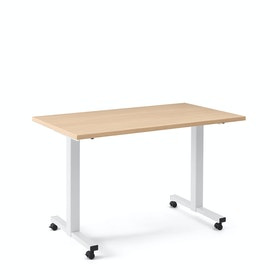 "Irons Flip Top Training Table, Natural Oak, 47"", White Legs"
