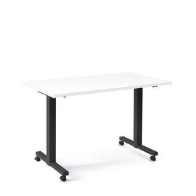 "Irons Flip Top Training Table, White, 47"", Charcoal Legs"