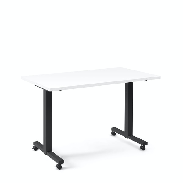 "Irons Flip Top Training Table, White, 47"", Charcoal Legs,White,hi-res"