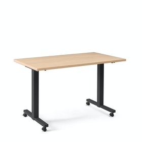"Irons Flip Top Training Table, Natural Oak, 57"", Charcoal Legs"