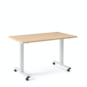 "Irons Flip Top Training Table, Natural Oak, 57"", White Legs"