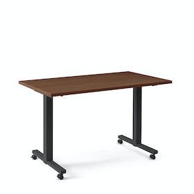 "Irons Flip Top Training Table, Walnut, 57"", Charcoal Legs"