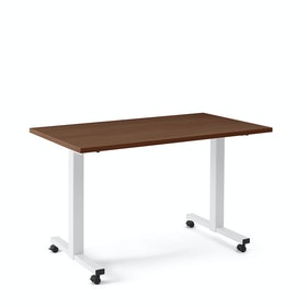 "Irons Flip Top Training Table, Walnut, 57"", White Legs"