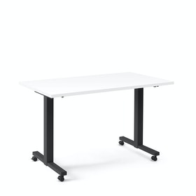 "Irons Flip Top Training Table, White, 57"", Charcoal Legs"