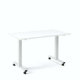 "Irons Flip Top Training Table, White, 57"", White Legs"