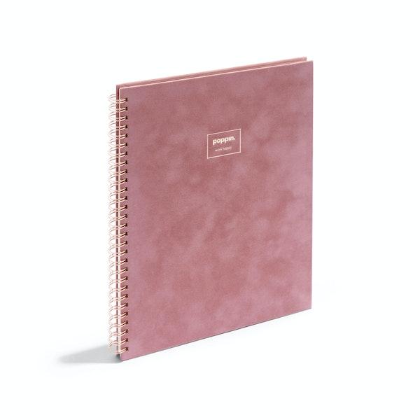 Dusty Rose Velvet Large Spiral Notebook,Dusty Rose,hi-res