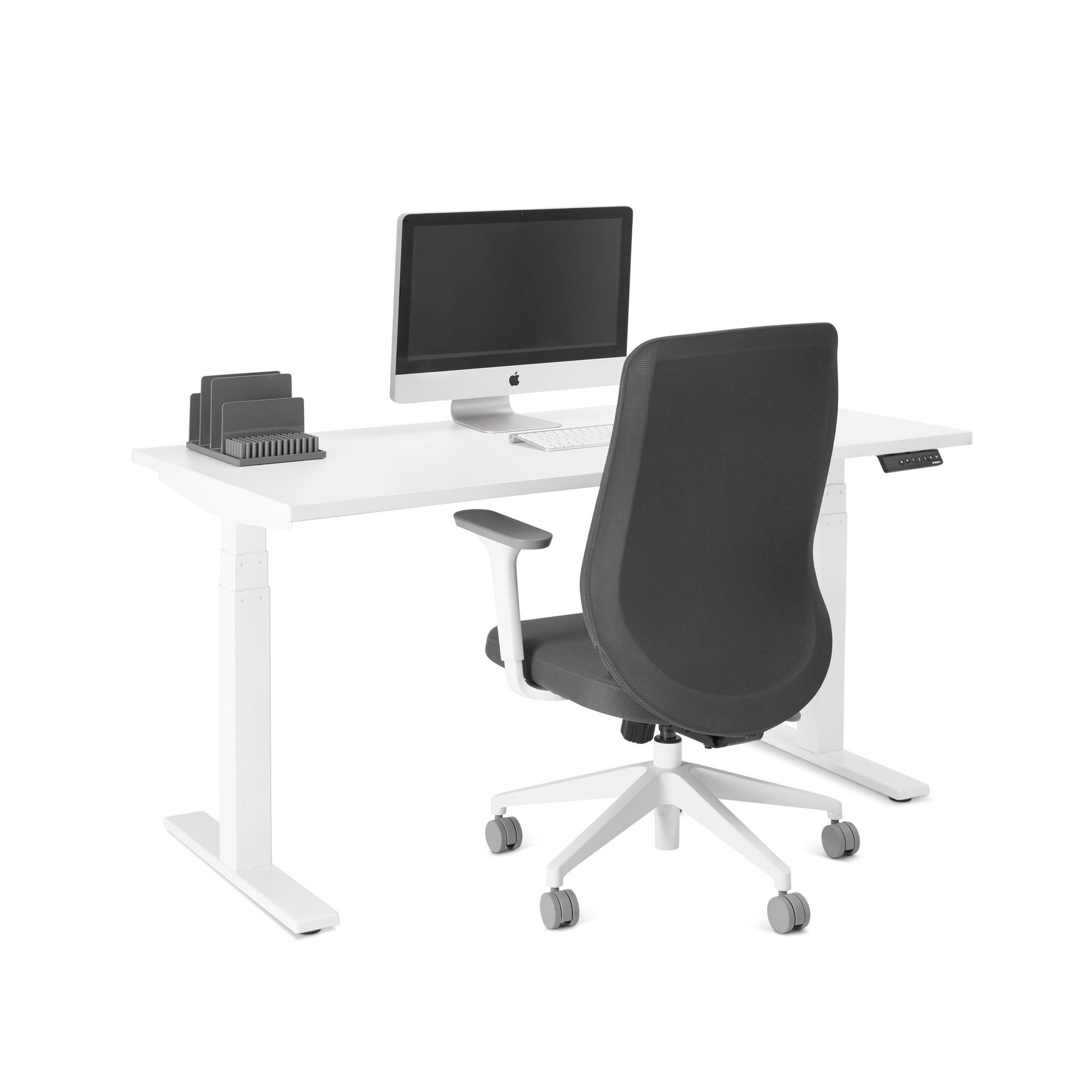 loft single desk white 57 white legswhitehi - Adjustable Height Computer Desk