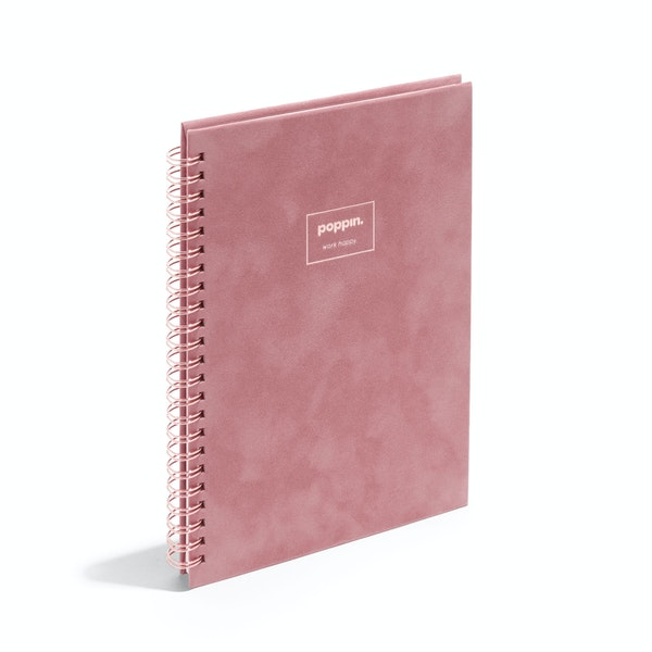Dusty Rose Velvet Medium Spiral Notebook,Dusty Rose,hi-res
