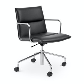 Black Meredith Meeting Chair, Mid Back