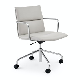 Light Gray Meredith Meeting Chair, Mid Back ,Light Gray,hi-res