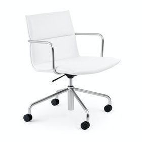 White Meredith Meeting Chair, Mid Back,White,hi-res