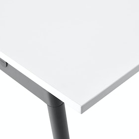 "Series A Double Desk for 6, White, 47"", Charcoal Legs,White,hi-res"