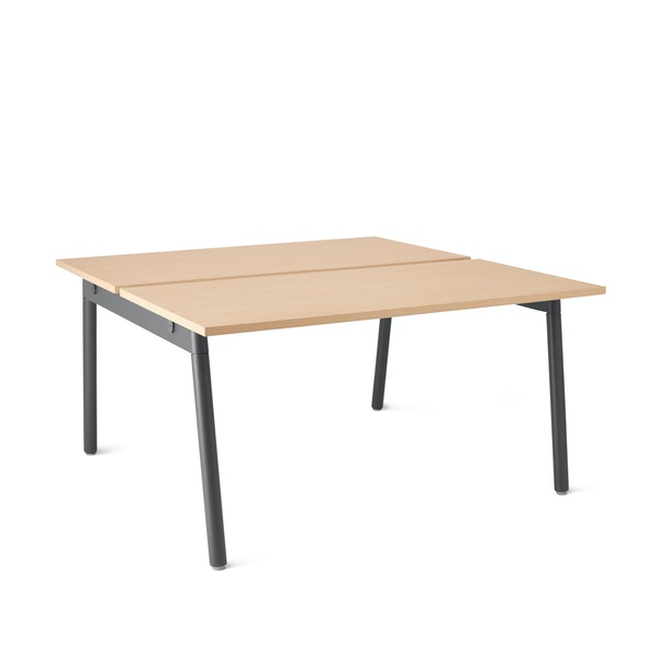 "Series A Double Desk for 2, Natural Oak, 47"", Charcoal Legs,Natural Oak,hi-res"