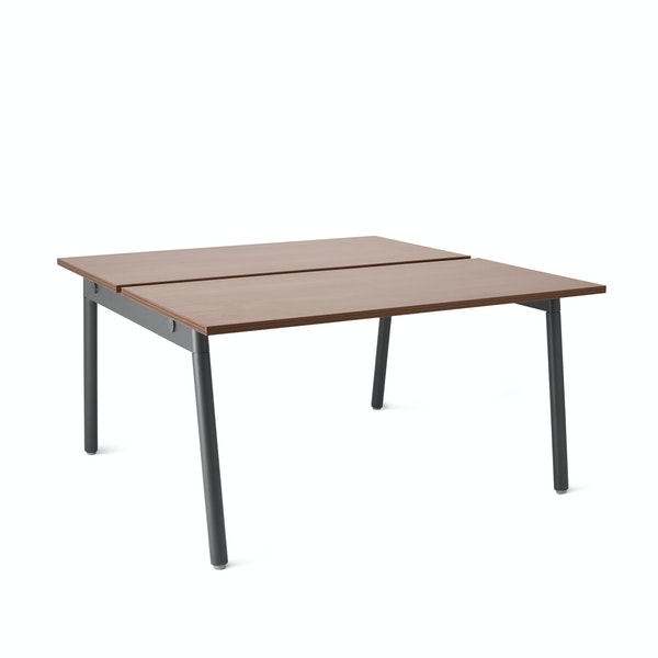"Series A Double Desk for 2, Walnut, 47"", Charcoal Legs,Walnut,hi-res"