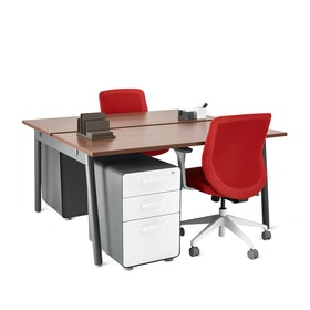 Series A Double Desk for 2, Charcoal Legs
