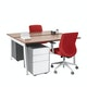 "Series A Double Desk for 2, Walnut, 57"", White Legs,Walnut,hi-res"
