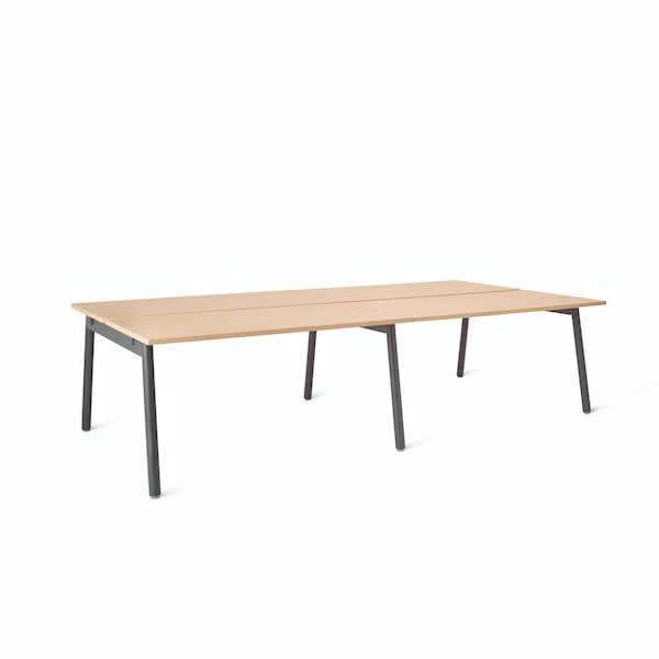 "Series A Double Desk for 4, Natural Oak, 47"", Charcoal Legs,Natural Oak,hi-res"